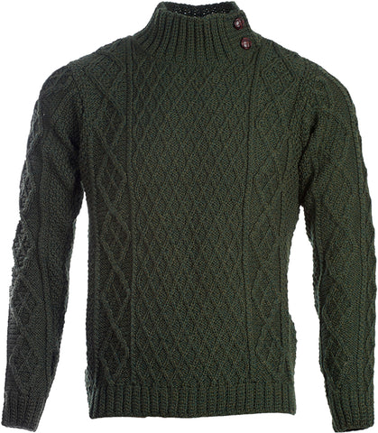 Aran Button Collared Pullover