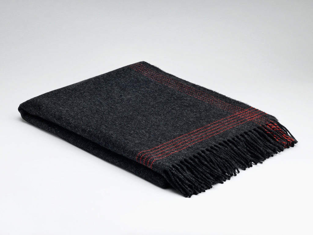 Charcoal & Paradise Red Cashmere Throw