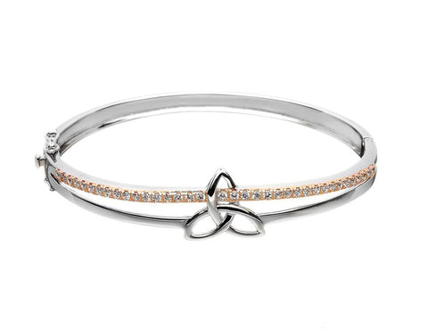 Two Tone Pave Set Trinity Knot Bangle