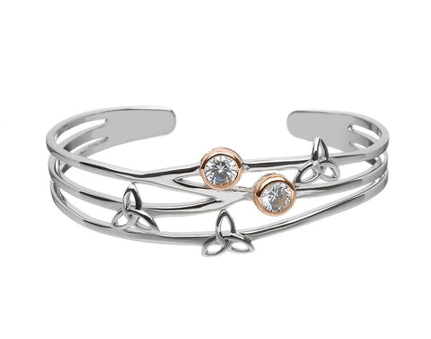 Two Tone Stone Set Trinity Knot Bangle
