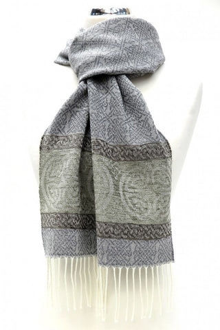 Celtic Border Scarf -Alpine Slate