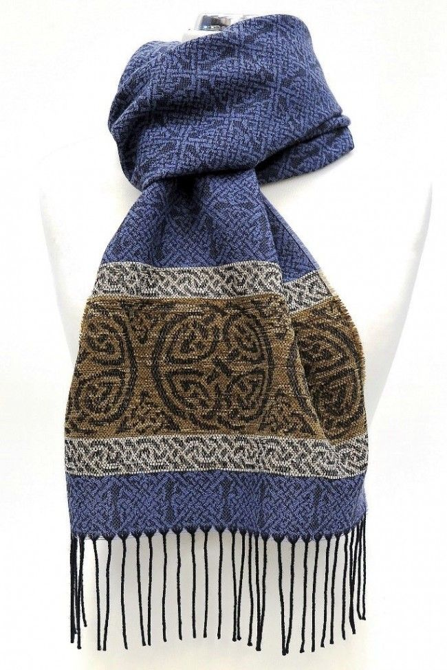 Celtic Border Scarf - Nordic Blue