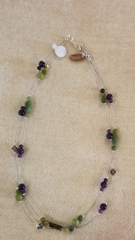 Connemara Marble & Amethyst Illusion Necklace