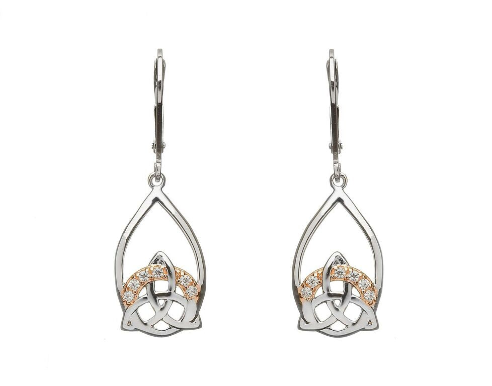 Two Tone Pave Set Trinity Knot Earrings