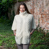 Funnel Neck Poncho Jacket - Cream