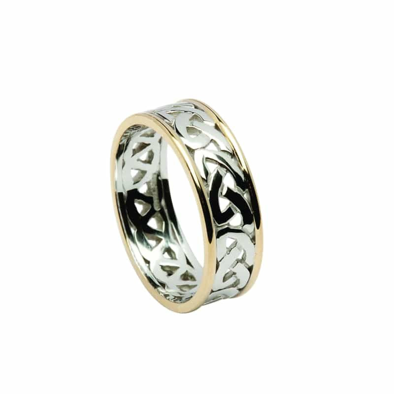 Open Celtic Knot Wedding Band - Two Tone