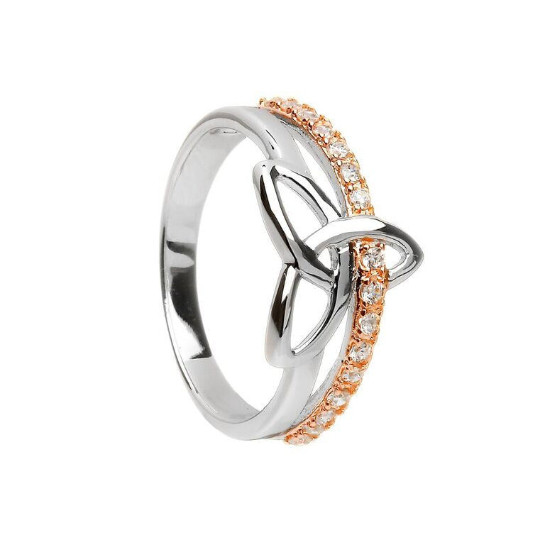 Two Tone Pave Set Trinity Knot Ring