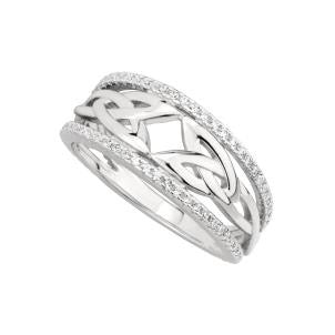 Pave Set Double Trinity Knot Ring