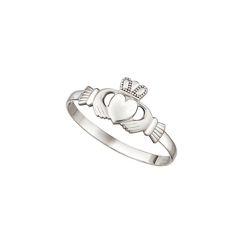 14K White Gold Mini Claddagh Ring
