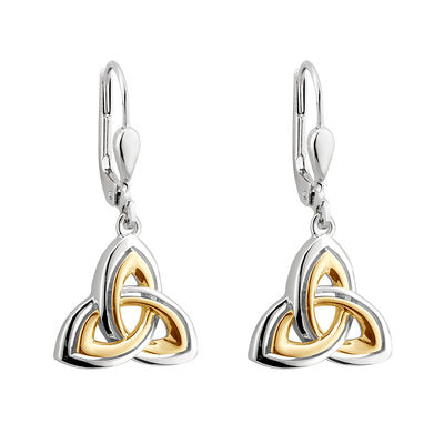 Trinity Knot Silver & Gold Plate Drop Earrings