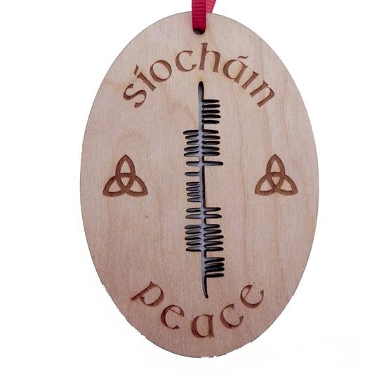 Peace (Siochain) Cherry Wood Ornament