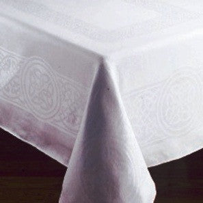 "Colmcille White Irish Linen Tablecloth - 54""x72"""