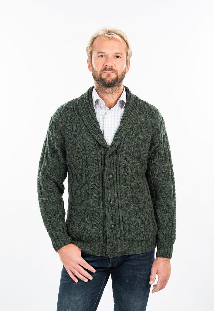 Traditional Shawl Collar Aran Cardigan