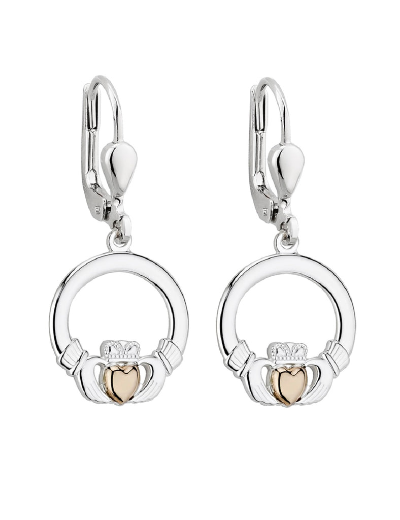 Two Tone Claddagh Earrings