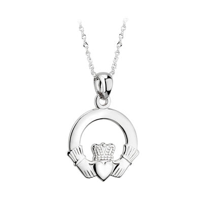 Claddagh Pendant - White Gold