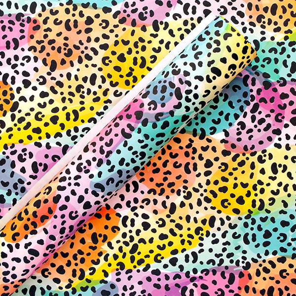 Rainbow Leopard Wrapping Paper Sheets