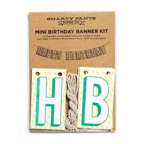 Happy Birthday Banner with Lightning Bolts