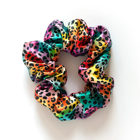 Rainbow Leopard Scrunchies
