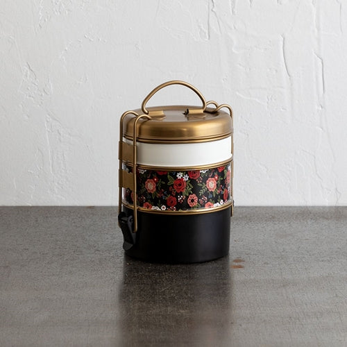 Three-tier Stainless Steel Lunch Box - Floral - Reservoir
