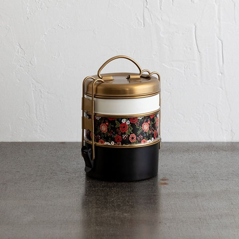 Three-tier Stainless Steel Lunch Box - Floral
