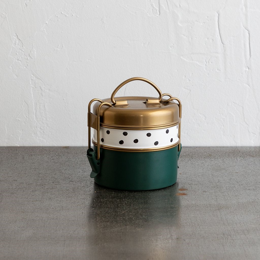 Two-tier Stainless Steel Lunch Box - Polka Dot - Reservoir