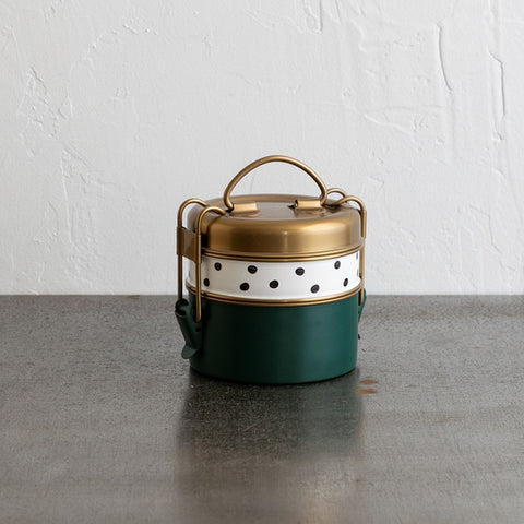 Two-tier Stainless Steel Lunch Box - Polka Dot