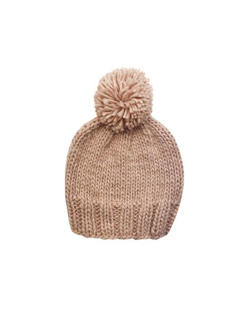 Solid Pom Baby Beanie- Pink