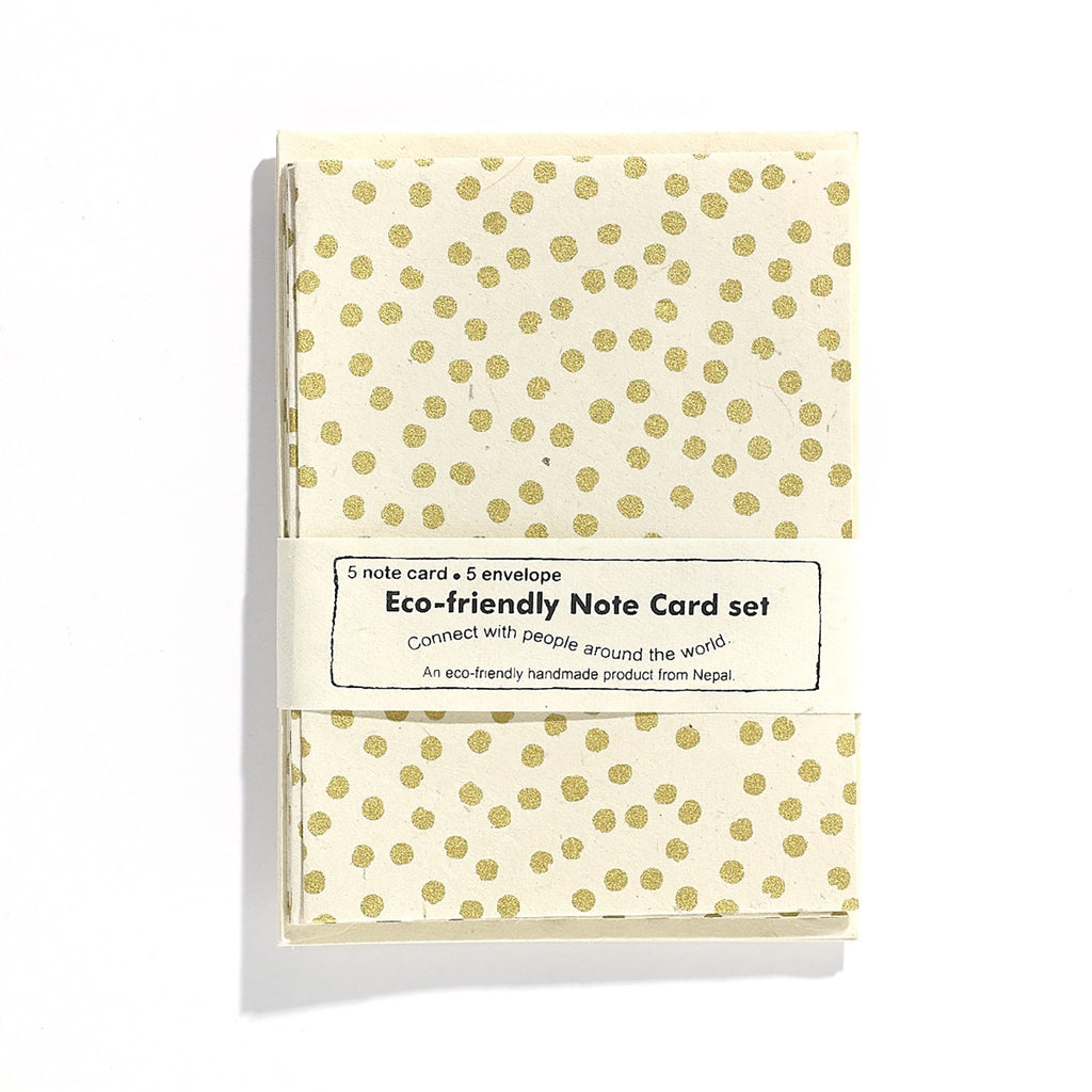 Eco Friendly Set of Cards - Ivory Gold Polkadot - Reservoir