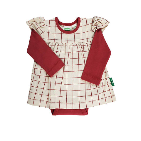 Onesie Dress - Red Grid