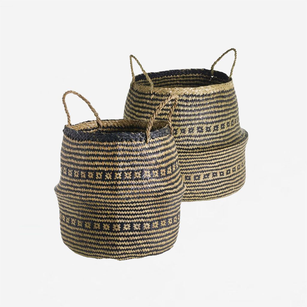 Straw Collapsable Baskets - Natural/Black