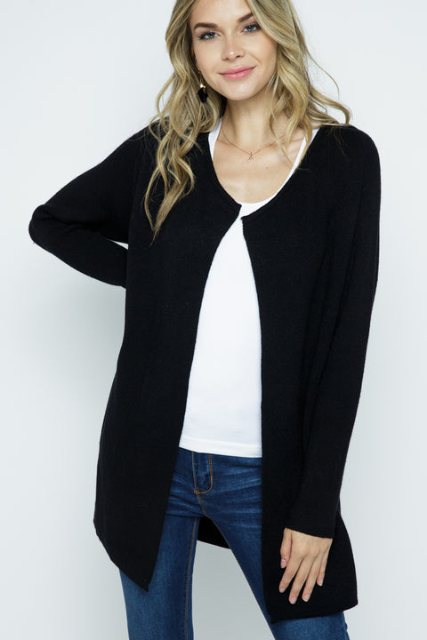 Knit Open Cardigan - Black