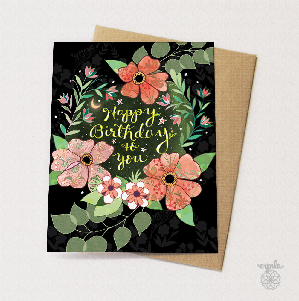 Starry Flower Birthday Card - Reservoir