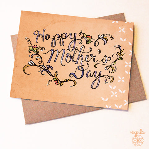 Peach Mother's Day Card