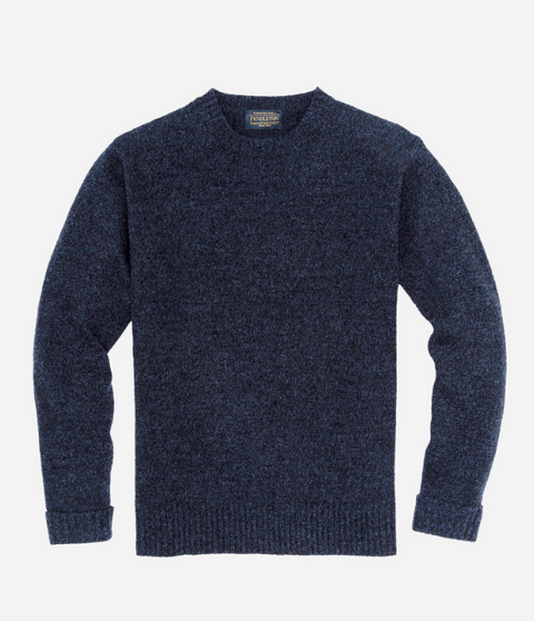 Shetland Crew Sweater - Dark Indigo Mix - Reservoir