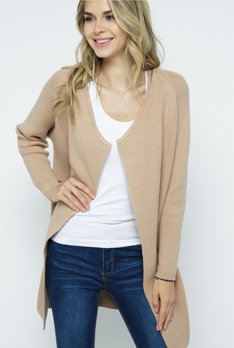 Knit Open Cardigan - Taupe