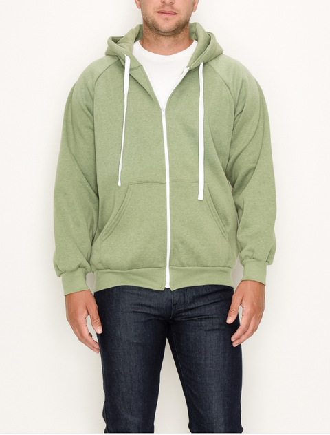 Zip Up Hoodie - Pear Green