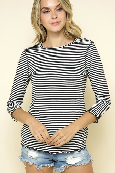 Striped 3/4 Sleeve Top - Black