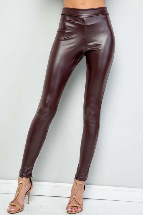 Faux Leather Leggings - Cinnamon - Reservoir