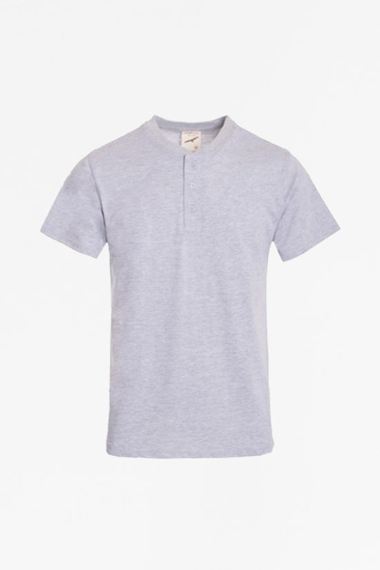 Short Sleeve Henley Tee - Light Grey - Reservoir