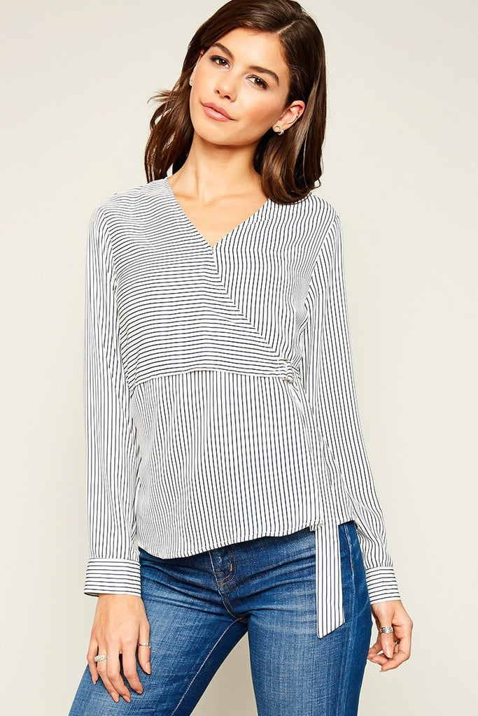 Long Sleeve Wrap Strap Blouse - Reservoir