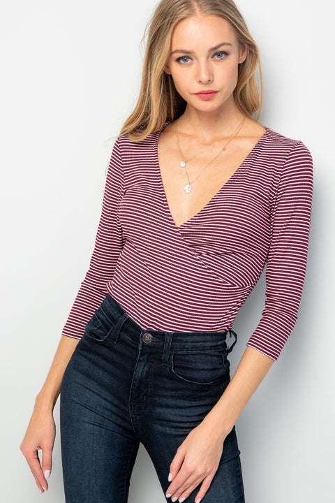 Striped V-Neck Bodysuit - Burgundy
