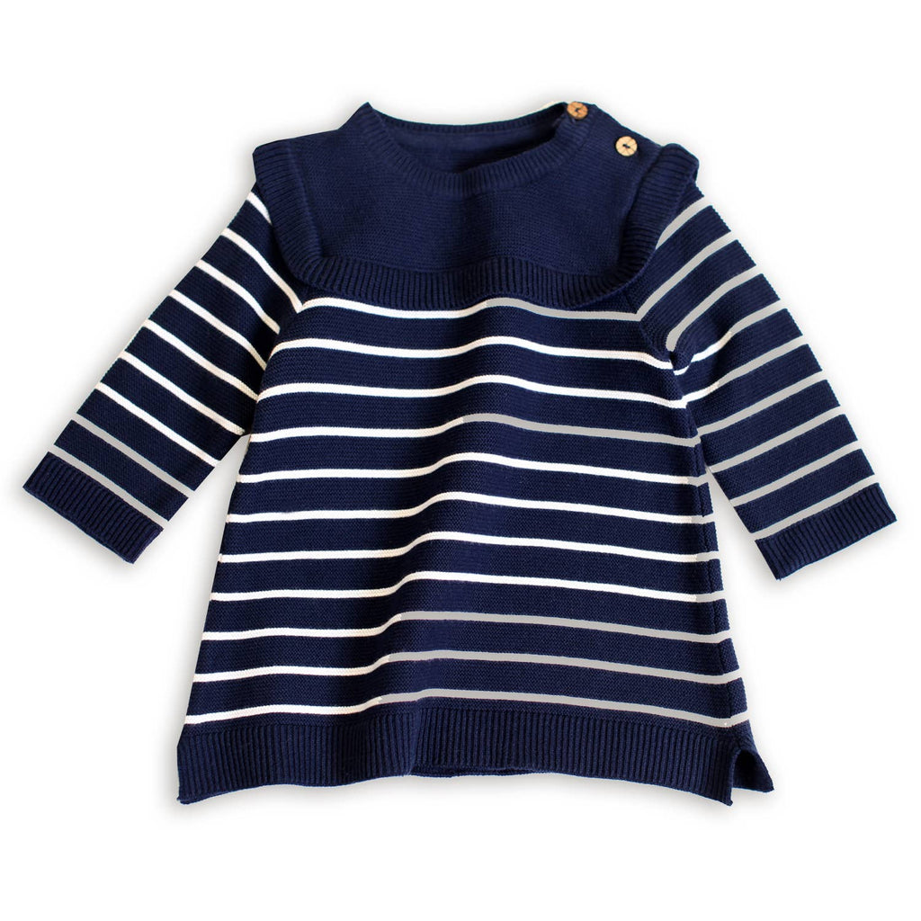 Ruffle Sweater Knit Baby Dress - Navy
