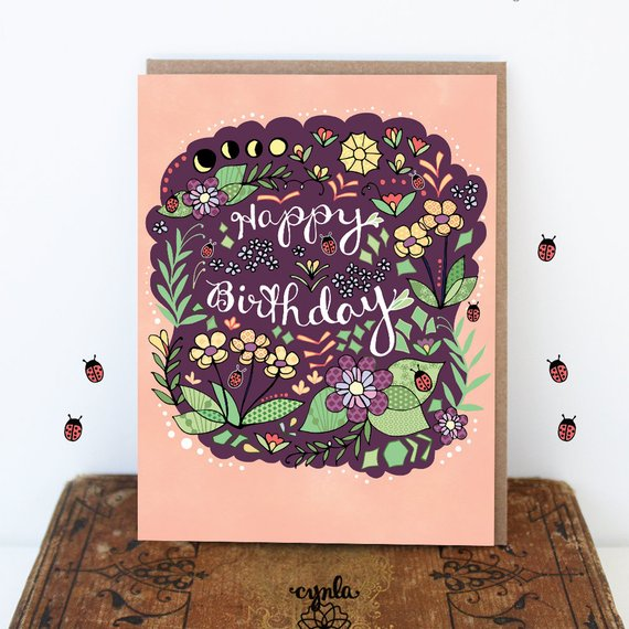 Moon Flower Birthday Card - Reservoir