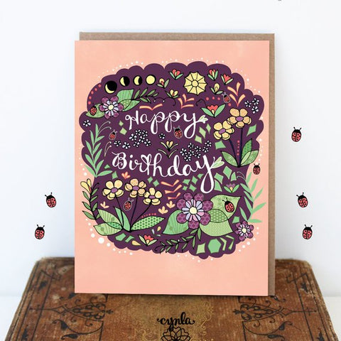 Moon Flower Birthday Card