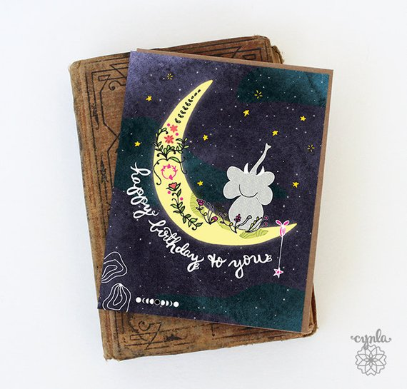 Elephant Moon Birthday Card - Reservoir