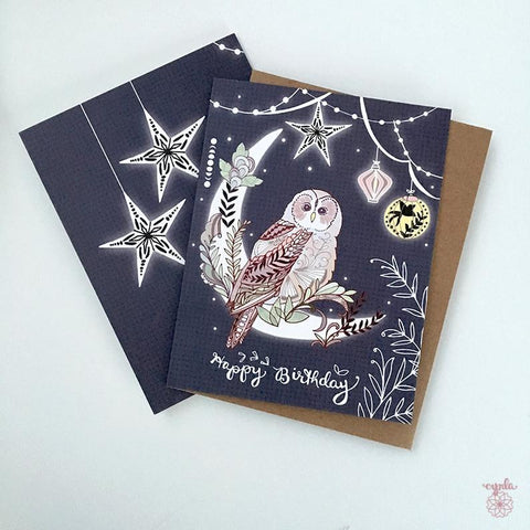 Owl Lantern Birthday Card