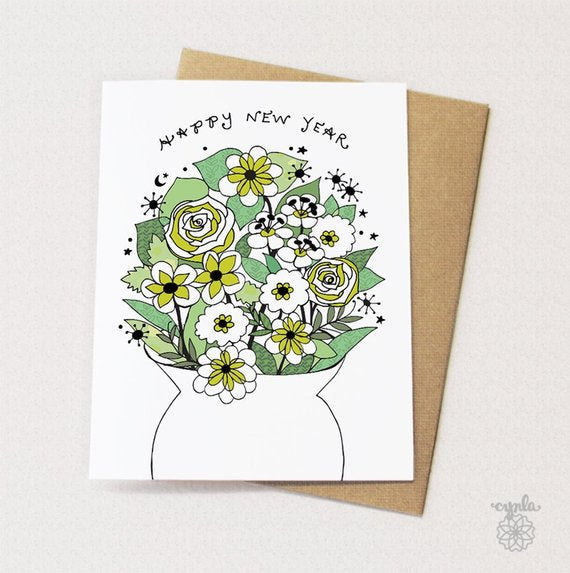 Happy New Year Vase Cards - Set of 6 - Reservoir