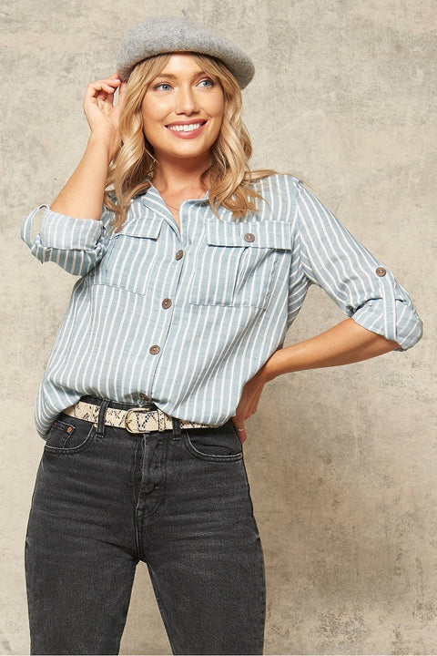 Striped Button Up - Dusty Blue