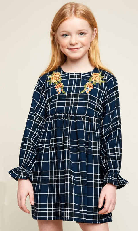 Plaid Dress w/ Floral Embroidery - Navy