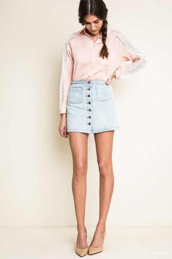 Pink Chambray & Lace Top - Reservoir